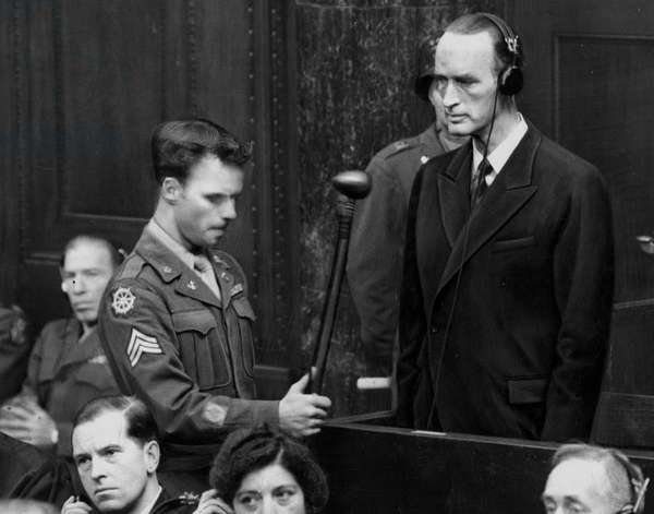 Second World War (1939-1945) - World War II (WWII or WW2): Nuremberg (Germany) 17 November 1945: At a hearing of the International Tribunal to try the economic leaders of the Third Reich, Alfred Krupp von Bohlen und Halbach (1907-1967), leader of the Krupp industries, makes a statement before the Court