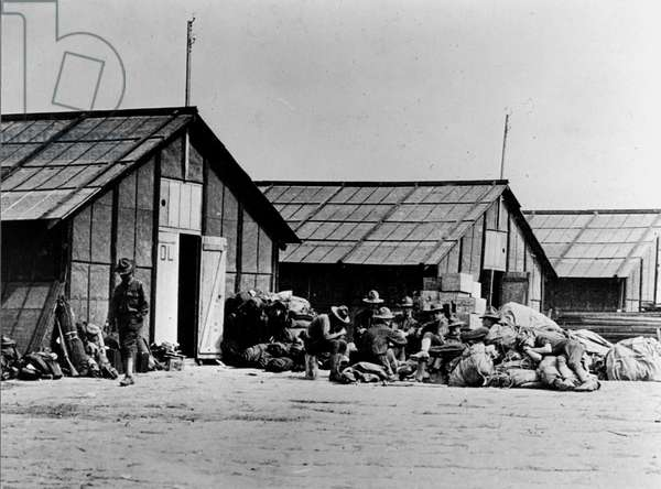 First World War (1st, Iere, 14-18 or 1914-1918) (WWI): Near St Nazaire (Loire-Atlantique) France end June 1917: American soldiers (mainly Genie) in Adrian barracks after their arrival on June 27, 1917.