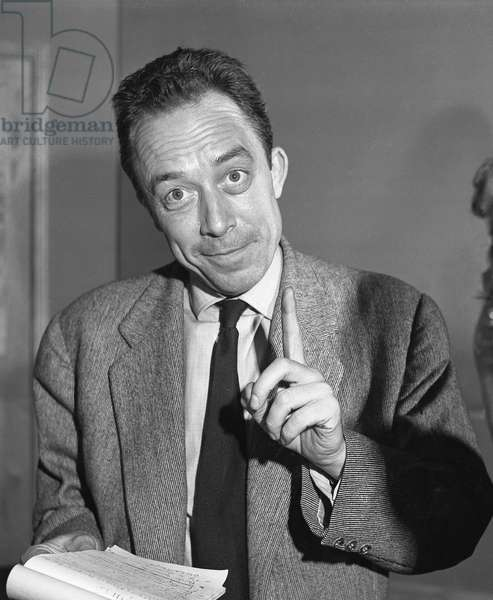 "Albert Camus during a repetition for his play """" Requiem pour une Nonne"""" (William Faulkner) in 1956 - Theatre des Mathurins in Paris -"