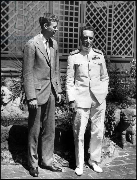 New York City (NY) USA July 1930: Meeting of transatlantic airman Charles Lindbergh (1902-1974) and explorer Admiral Richard E.Byrd (1888-1957)
