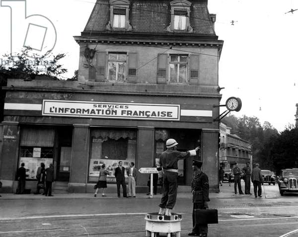 Second World War (1939-1945) - World War II (WWII or WW2): Baden-Baden (Germany) October 1945: At the headquarters of the French Occupation Zone High Command, the French Information Centre on Leopold Platz, where exhibitions on Nazi war crimes are organized