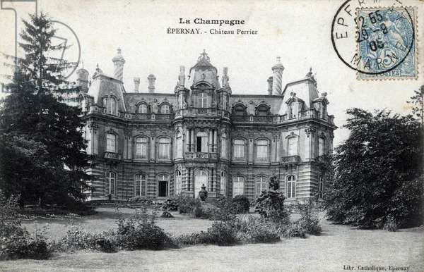 Champagne Ardenne, Marne (51), Epernay: exterior view of the Chateau Perrier, Louis XIII style, built in 1854 - Postcard dated 1905