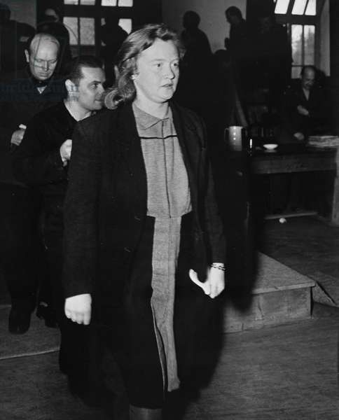 "Second World War (1939-1945) - World War II (WWII or WW2): Dachau (Germany) 1947: Ilse Koch (1906-1967), nee Koehler, arrives at his trial before the American Military Court. Former camp keeper nicknamed ""Buchenwald's Dog"":"