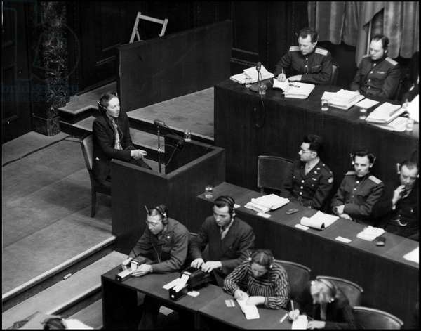 Second World War (1939-1945): Communist Marie Claude Vaillant-Couturier (Vaillant Couturier) (1912-1996) testify during the trial of the main Nazi leaders in Nuremberg, Germany. Photograph on January 28, 1946.