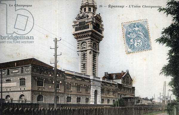 """Champagne Ardenne, Marne (51), Epernay: Chateau d'eau et la Gare d'Epernay - Publication on the tower of the watercastle called Castellane for the champagne of """"Union Champenoise"""""""""""" - Postcard beginning 20th century"""