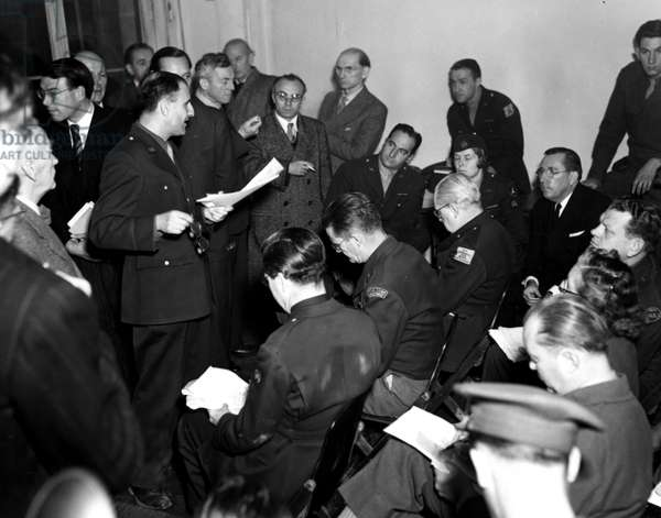 Second World War (1939-1945): Nuremberg trial (Germany) 13 November 1945 On the eve of the start of the hearings of the International Tribunal (IMT), charged with trying the main Nazi officials; the defensers of the accused prey to answer the journalists who followed the trial.