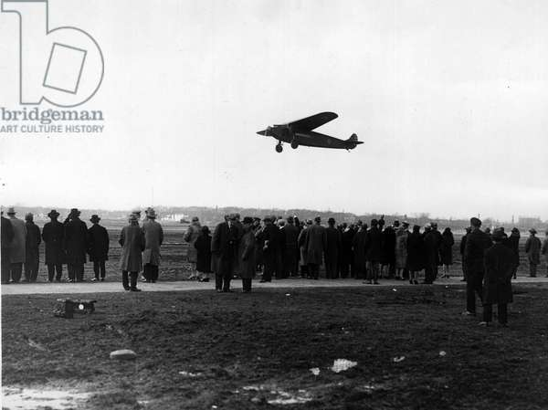 Washington DC (USA), 20 March 1928: Colonel Charles Lindbergh (1902-1974) and Lieutenant Lester Maitland decolved on a trimotor Fokker for a flight with a delegation of American parliamentarians over the federal capital of the USA - Washington DC, USA, 20th March 1928: Colonel Charles Lindbergh (1902-1974)'s trimotored Fokker plane taking off with a delegation of congressmen for a ride over the city