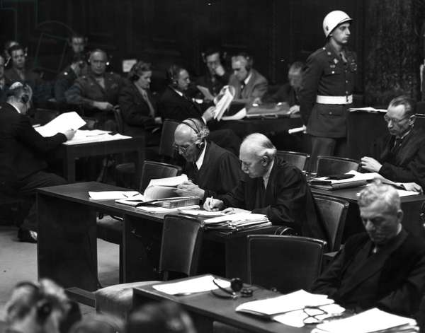 Second World War (1939-1945): Nuremberg trial (Germany) March 2, 1946: At one of the hearings of the International Tribunal (IMT) charged with trying the main Nazi officials; from left to right, Dr. Fritz Sauterqui is Baldur von Scirach's lawyer and Dr. Otto Nelte who is Wilhem Keitel's lawyer.