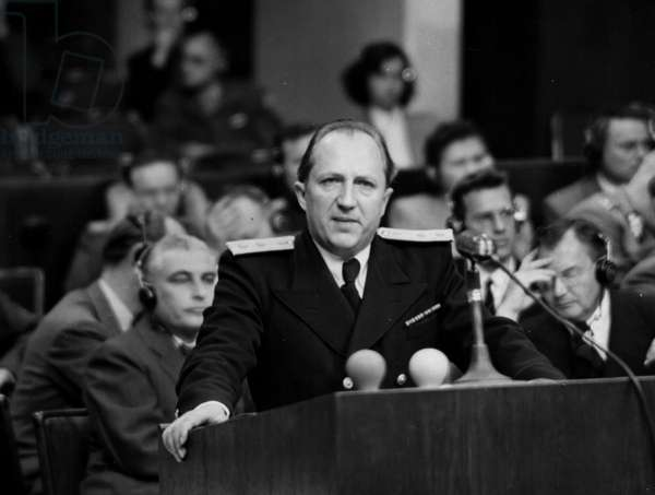 Second World War (1939-1945): Nuremberg trial (Germany) 1946: At one of the hearings of the International Tribunal (IMT), the Sovietic prosecutor General R.A Rudenko pronounced his case. In the background, on the right, U.S. Attorney Robert H.Jackson.