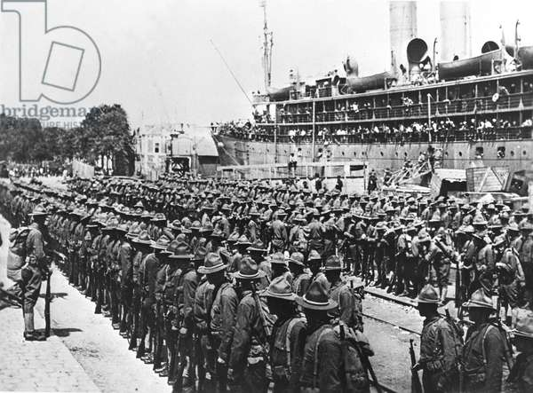 First World War (1st, Iere, 14-18 or 1914-1918) (WWI): Saint-Nazaire (Loire-Atlantique) France 26 June 1917: Arrival of the first American soldiers (mainly from Genie)