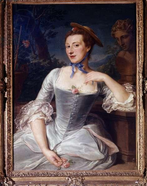 Portrait of Jeanne Antoinette Poisson, Marquise of Pompadour (known as Madame de Pompadour, 1722-1764) disguised as a gardener. Château de Champs sur Marne (77).