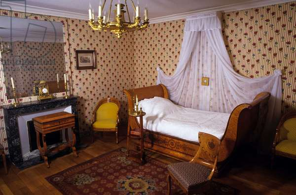 Interior of the house of Chateaubriand in Chatenay - Malabry (Hauts de Seine). Juliette Recamier's room called Madame Recamier (1777-1849).