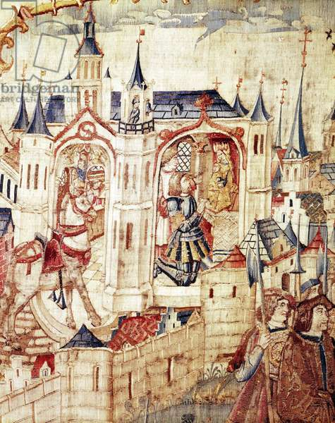 Representation of the churches of Saint Stephen and Notre Dame of Good Hope at the Siege of Dijon by the Swiss in 1513. Tapestry, Musee des beaux arts, Dijon, Cote d'Or, France.
