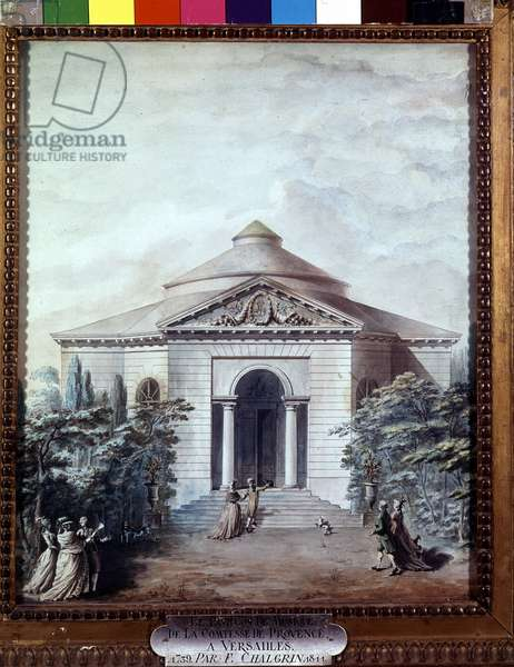 The music pavilion of the Comtesse de Provence in Versailles. Engraving by F. Chalgrin (1739-1811).