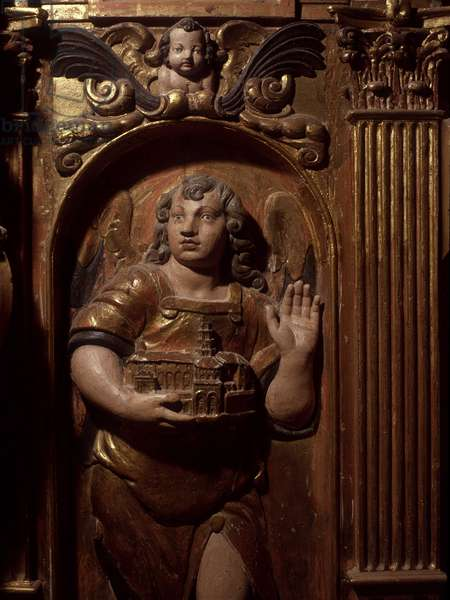 Angel carrying in his hands the church of St. Sernin. Chapel Saint Georges, Basilica Saint Sernin in Toulouse.