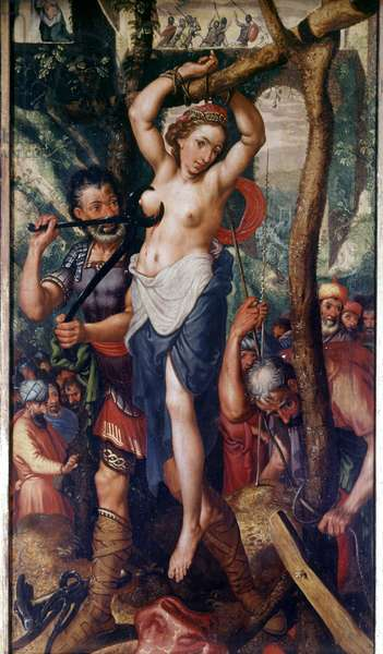 The martyrdom of Saint Agatha (circa 250 AD). Painting by a Flemish master.
