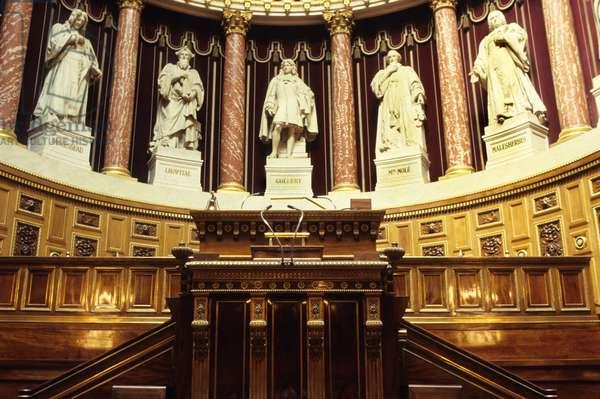 Interior of the Senate in Paris (Palais du Luxembourg) with sculptures representing Henri Francois d'Aguesseau, Michel de L'Hospital (Michel de l'Hopital), Jean Baptiste (Jean-Baptiste) Colbert (1619-1683), Count Molé and Guillaume Malesherbes, all founders of the legislature.