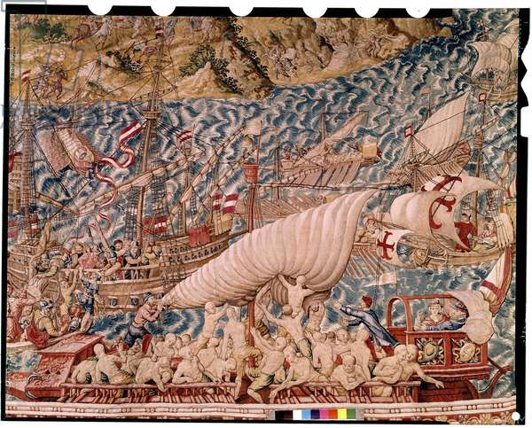 The seat of Tunis by Charles V, 1565. Tapestry of Belgium preserved at the Hotel de Ville de Mechelen.
