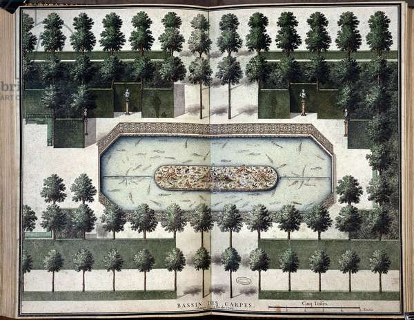 The Carp Basin. Chateau de Marly-le-Roi (78). Gouache from the King, dated 1714. National Archives.
