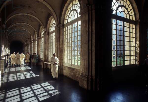 View of a corridor of the Abbey of Premonstrates built in 1705. Bridge to Monsoon. Meurthe and Moselle (54).