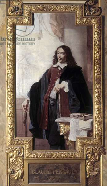 Portrait of Claude Perrault French architect (1613-1688). Goblin tapestry panel adorning the Gallery of Apollo. Realised by A. de Brancas around 1858-1860. Musee du Louvre Paris.