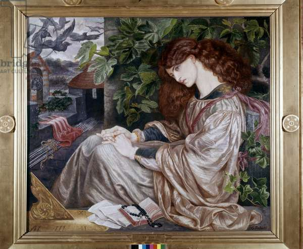 Tolomei's pia. Illustration of a passage from Dante's Purgatory. Painting by Dante Gabriel Rossetti (1828 - 1882). 1868-1880. Spencer Museum of Art - Kansas, USA