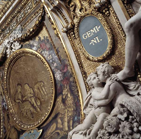 May (1667 - 1677), medallion by Jacques Gervaise (1622 - 1670). The sign of the virgin (Detail), sculpture after a drawing by Charles Lebrun (Le Brun) (1619-1690). Ceiling of the Galerie d'Apollon at the Musee du Louvre in Paris.