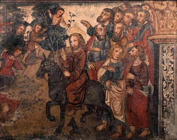 The entrance of Jesus Christ to Jerusalem. Fresco of the Chapel of the Chateau d'Anjony (15). 16th century (?)