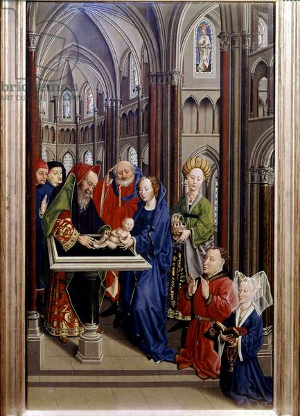 Presentation at the Temple: Anonymous painting attributed to Jean de Maisoncelles. Early 15th century. Museum of Fine Arts, Dijon.