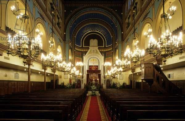 Interieur de la synagogue rue de Nazareth in Paris.