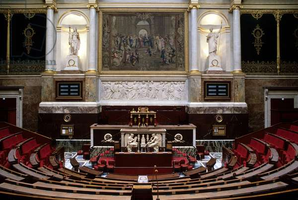 Interior of the National Assembly in Paris.