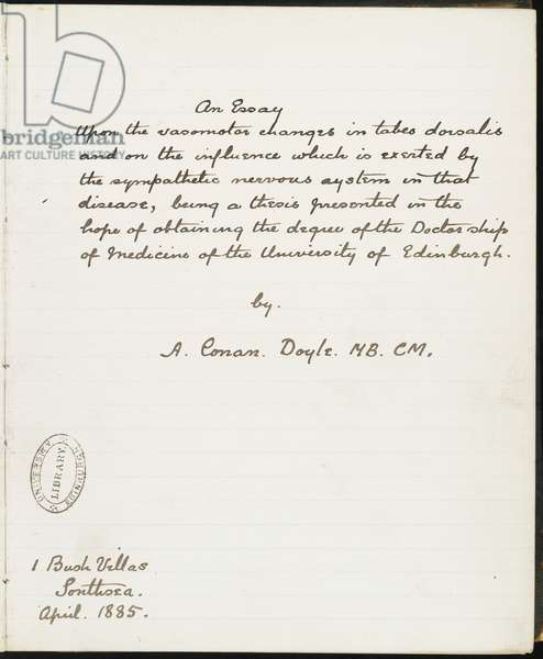 Title page of Doyle's medical thesis, submitted to the University of Edinburgh April 1885 (pen & ink on paper)