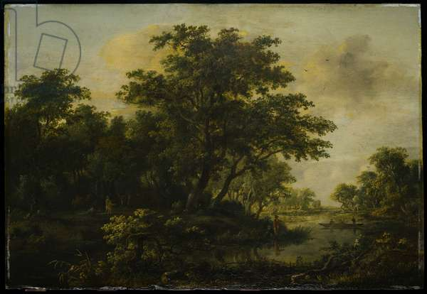 A Wooded River Valley with Two Fishermen, c.1659-1709 (oil on panel)