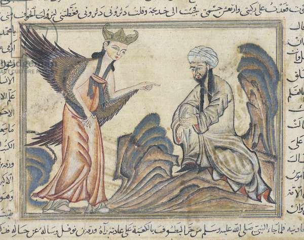 Mohammed and the Archangel Gabriel, miniature from 'La Somme des Chroniques' of Rashid al-Din, 1312 (vellum)