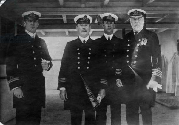Captain Edward Smith (right), of the RMS Titanic, which sank after hitting an iceberg, 1912