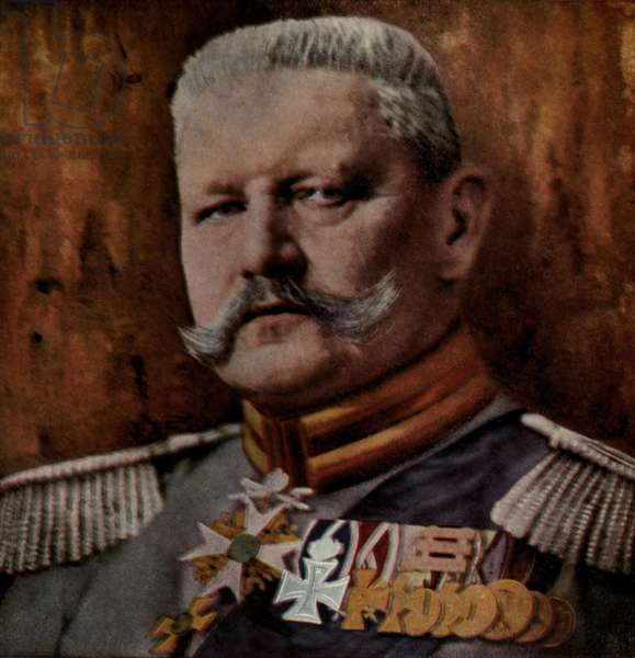 Field Marshall Paul von Hindenburg commanded German armies in East Prussia that defeated the Russians in Tannenberg in August 1914 and at the at the Masurian Lakes in 1915. He succeeded Erich Falkenhayn as Commander-in-Chief of the German armies on August 29, 1916