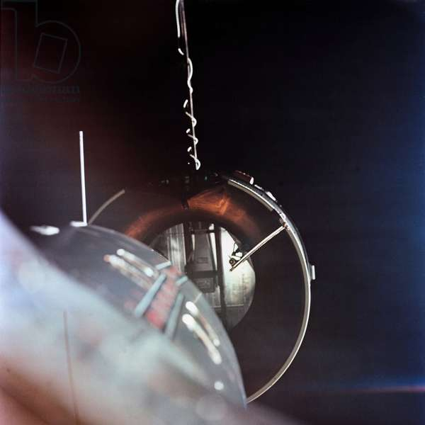 Gemini 8 spacecraft approaching the Agena Target Docking vehicle. The mission conducted the first docking of two spacecraft in orbit. March 16, 1966