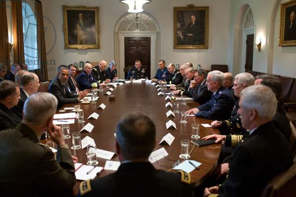 Pres. Barack Obama and VP Joe Biden meet with Combatant Commanders and senior military. Cabinet Room, White House, May 15, 2012