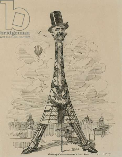 Caricature of Gustav Eiffel in the form of the Eiffel Tower, which he built for the Exposition universelle in Paris in 1889