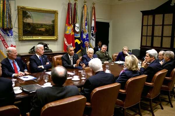 President Obama attends a START Treaty meeting hosted by VP Joe Biden. Former Secretaries of State attended including James Baker Henry A. Kissinger Madeleine Albright. Nov. 18 2010. (BSWH_2011_8_294)