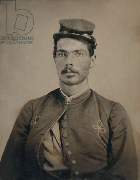 African American soldier in Civil War Union Zouave uniform, during the US Civil War, c. 1863-65