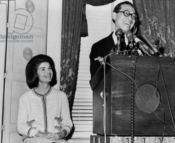 Architect Ieoh Ming Pei was chosen to design the John F. Kennedy Memorial Library in 1964. He speaks at a press conference attended by Jacqueline and Robert Kennedy on December 13, 1964