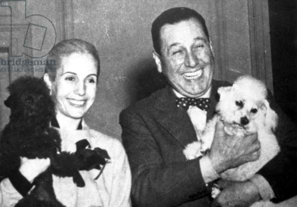 Eva and Juan Peron with their dogs, c.early 1950s