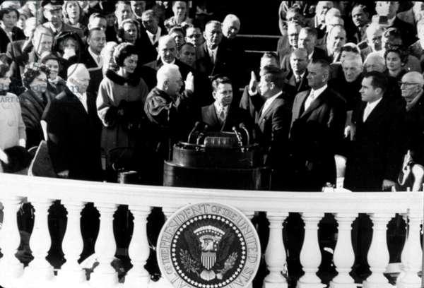 John F. Kennedy being sworn in as president, 1960,