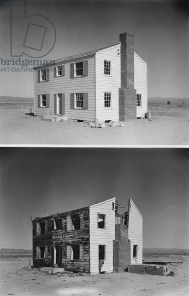 Nuclear 'Operation Cue' tested buildings' ability to survive atomic bombs. Before and after photos of a two-story wood frame house 5,500 feet from ground zero. April 4, 1955