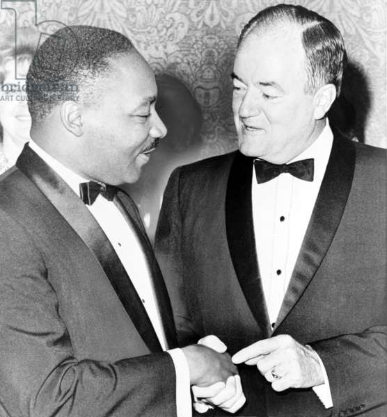 Martin Luther King, Jr. (1929-1968), chats with Vice-President Hubert Humphrey (1911-1978). Humphrey was an early supporter of desegregation and civil rights. 1965