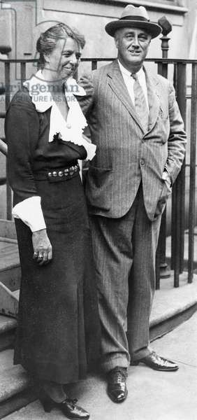FDR Presidency. First Lady Eleanor Roosevelt with US President Franklin Delano Roosevelt, c.early 1930s