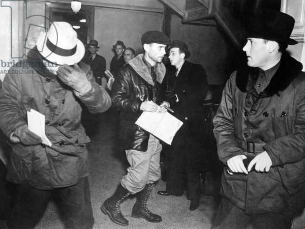 J. Edgar Hoover arriving in St. Paul, Minn. at the tragic end of the Charles S. Ross Kidnap case, Jan. 21. 1938