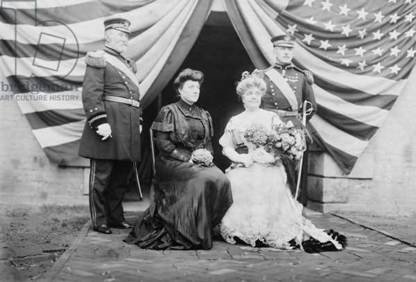 General Frederick Grant (1850-1912), son of President Grant, and General Leonard Wood (right) with their wives. Both men served in the Philippines during the Spanish American War. c. 1905