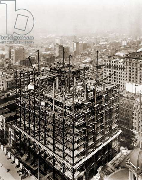Woolworth Building steel frame structure under construction, New York City, Feb. 2, 1912